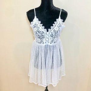 Ivory Sheer Lace Dress!